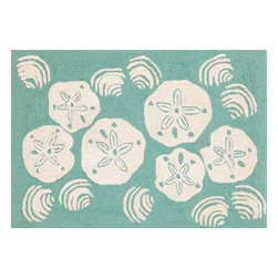 """Trans-Ocean - Shell Toss Aqua Rugs 1408/04 - 20""""X30"""" - Richly blended colors add vitality and sophistication to playful novelty designs.Lightweight loosely tufted Indoor Outdoor rugs made of synthetic materials in China and UV stabilized to resist fading.These whimsical rugs are sure to liven up any indoor or outdoor space, and their easy care and durability make them ideal for kitchens, bathrooms, and porches."""