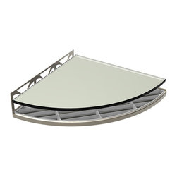 TileWare - TileWare Structural Surfaces Claddy T-Shelf w/ Glass Cover, Raven - Structural Surfaces™ Claddy T-Shelf With Glass Cover - Brushed Nickel