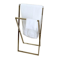 DecorSuite - Pedestal X Style Iron Construction Towel Rack, Satin Nickel - The Pedestal X Style Towel Rack is perfect for smaller spaces or moving around. The collapsible design allows you to move the towel rack from room to room as needed. Move it outside next to the pool for a stylish place to hang your towels. The towel rack opens up for two racks to hang towels from. Constructed from solid iron so durability is never an issue.