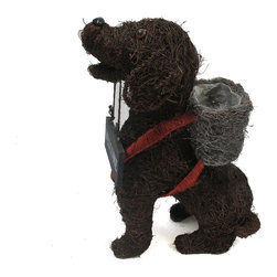 "Master Garden Products - Rattan Twig Dog Topiary Planter, 23""L x 19""H - Our dog topiary planters are  made of a wire frame, covered in line with rattan twig. There is a loose, plastic liner. Good for the indoors and outdoors."