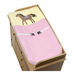 "Sweet Jojo Designs - Pretty Pony Changing Pad Cover - The Pretty Pony Changing Pad Cover will help complete the look of your Sweet Jojo Designs nursery. This changing pad cover can be used with standard or contoured changing pads up to 17"" X 33"". It also has elastic edges for a tailored, snug fit."