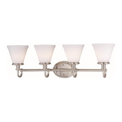 Lite Source - Lite Source Bastien Transitional Bathroom / Vanity Light XSL-ORF/SP45661 - A simple frame with traditional nuances, such as knob and beveling, captivates the eye and makes this Lite Source bathroom light an elegant addition to any bathroom. From the Bastien Collection, this beautiful transitional bathroom light features four cone-shaped shades made from a white-toned frosted glass. Polished Steel completes the look.