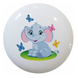 Carolina Hardware and Decor, LLC - Baby Elephant with Butterflies Ceramic Knob - 1 1/2 inch white ceramic knob with one inch mounting hardware included.  Great as a cabinet, drawer, or furniture knob.  Adds a nice finishing touch to any room!