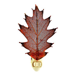 Real Oak Leaf Nightlight in Iridescent - Real Oak Leaf preserved in precious metals. Attached to UL-listed 4 watt nightlight bulb. Hand Made in USA.