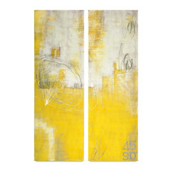 "Vertuu Design - Yellow Stone' Artwork (Set of 2) - Add a pop of vivid color to your home with the hand-painted ""Yellow Stone"" Artwork. The two sister pieces feature bright yellow color overlaid with textured gray strokes and scribbles. These acrylic canvas paintings are finished with high gloss. Pair them with neutral design elements for a dramatic contrast."