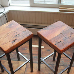 Reclaimed Pine on Metal Square Bar Stools by Vermontfarmtable - The clean industrial lines of these reclaimed pine stools would fit right into my minimalist look, while the wood would add a touch of character.
