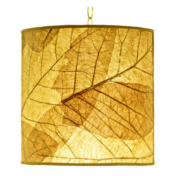 Foreign Affais Home Decor - TECTONA Hanging Lamp, Yellow - These beautiful hanging lamps are made from natural Teak Leaf. The remarkable contours of these very large leaves shine through the lamps even when not lit but provide an absolutely stunning warm light when lit.