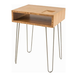 "Miro End Table - Handcrafted carbonized bamboo plywood with steel hairpin legs.  Carved recess ib tabletop for organizing smaller objects (coins, phone, keys).  L 18.5"" x W 16.5"" x H 25"""