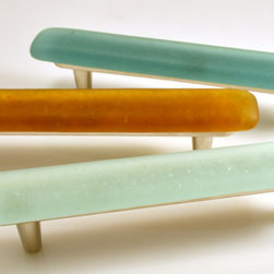 "SpectraDécor - Castaway Recycled Glass Large Pull - Recycled glass 6"" pulls shown in Sunshine, Teal and Mineral Water colors. Bright Nickel metal finish bases. Also available with Rustic Bronze metal finish. Made in USA."