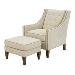 1727-24 OTTOMAN by Wesley Hall - This handsome armchair and ottoman are comfortable and elegant, with a lovely silhouette, choice of fabrics and fine detailing, including tufting.