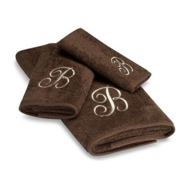 Avanti - Avanti Premier Ivory Script Monogram Bath Towels in Mocha - Classic and sophisticated, these monogrammed towels will add that subtle personal touch to your bathroom decor. Script letter is embroidered with great detail over an incredibly soft towel.