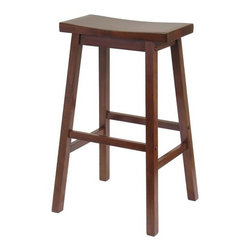 "Winsome - Bar Stool - Saddle Seat 29"" in Walnut - Features: -Saddle seat bar stool. -Finished in walnut. -Crafted from beech wood. -Gently curved seat enhances your comfort. -Classic design with valuable functionality. Dimensions: -Seat height: 29"". -Overall: 29"" H x 18"" W x 16"" D, 11 lbs."