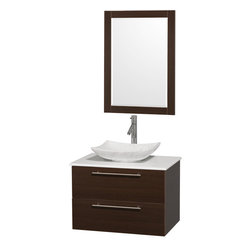 """Wyndham Collection - Amare 30"""" Bathroom Vanity Espresso, White Stone Top & Arista White Marble Sink - Product Features:"""