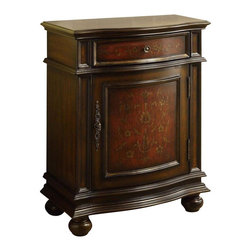 Monarch Specialties - Monarch Specialties Traditional Bombay Chest in Cherry - Take a blast into the 1700's with this traditional Bombay cabinet! This beautiful chest conveniently has 1 drawer and 1 cabinet door, ideal for storing books, blankets, kitchen accessories and plenty more. It has ample surface space for you to display pictures and decorative items. Finished in an elegant cherry red with flower details in the wood, this piece is sure to make you feel like royalty! What's included: Accent Chest (1).