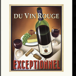 Amanti Art - Du Vin Rouge Exceptionnel Framed Print by Steve Forney - No doubts here, the taste of French red wine (Du Vin Rouge) is exceptional (Exceptionnel). Steve Forney draws a vintage-type poster for the wine, showing all the necessary elements -- bottle, corkscrew, full wine glasses, green grapes, an apple, and cheesecake. Bon appetit!
