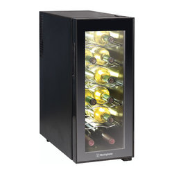 None - Westinghouse Thermal Electric 12-bottle Wine Cellar - Chill your wine while saving room in the fridge with this sleek thermal electric wine cellar by Westinghouse. This cellar is ideal for countertop use and is ultra quiet with a temperature range of 46 to 66 degrees F,perfect for red and white wines.