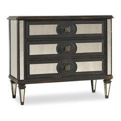 Hooker Furniture - Mirror Accented Chest - White glove, in-home delivery included!  This classy mirrored chest is crafted using hardwood solids with antique mirror, it features three drawers.