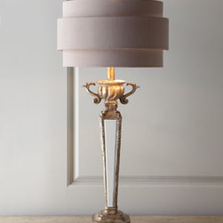 Horchow - Mirrored Table Lamp - The new and the old come together nicely when a modern, triple-layered silk shade sits on top of a hand-cast, Art Deco-inspired resin base with a golden finish and mirror inserts. Shade has silvery lining and may vary slightly from the one shown. 14....