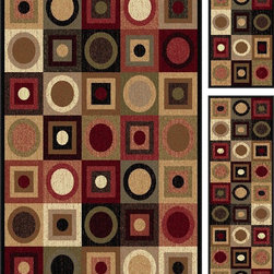 Tayse - Contemporary Elegance - Set of 3-5X7 - 1.8X5 - 1.8X2.8 5'x7' Rectangle Multi Col - The Elegance area rug Collection offers an affordable assortment of Contemporary stylings. Elegance features a blend of natural Multi Color color. Machine Made of Polypropylene the Elegance Collection is an intriguing compliment to any decor.