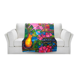 DiaNoche Designs - Throw Blanket Fleece - Iguana Eco Tour - Original Artwork printed to an ultra soft fleece Blanket for a unique look and feel of your living room couch or bedroom space.  DiaNoche Designs uses images from artists all over the world to create Illuminated art, Canvas Art, Sheets, Pillows, Duvets, Blankets and many other items that you can print to.  Every purchase supports an artist!
