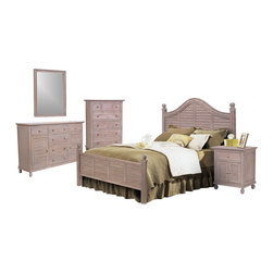 """SEAWINDS TRADING - Tortuga Driftwood White 5 Pc. Tropical Bedroom Set - The Tortuga is a high end solid solid natural wood group that boasts the unique """"Driftwood"""" stain. This group will turn your bedroom into a tropical paradise. It's all quality with steel glide drawers and heavy wicker weave. The pricing is excellent for such nice solid wood bedroom furniture."""