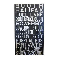Booth To Show Ground - Circa 1950's - 1970's, Vintage British Transit Route Signs were put into service on Double-Decker Buses throughout Great Britain.These signs were placed in glass fronted displays on the front & side of buses for riders to confirm that they were boarding the correct bus and it was headed in the direction they wanted to go.