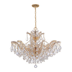 Crystorama - Crystorama 4439-GD-CL-SAQ Maria Theresa 6 Light Chandeliers in Gold - There''s undeniable magic when light meets crystal or glass. It sparks the same fire one sees when light meets precious and semi-precious stones. Great lighting often takes styling cues from jewelry as well, with its primary use of gold and silver tones. Just like an outfit isn''t complete without the perfect necklace, bracelet or earrings, a room isn''t complete until it has lighting that adds the WOW factor when you walk in.