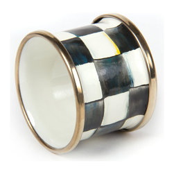 Courtly Check Enamel Napkin Ring | MacKenzie-Childs - Hand-painted Courtly Check® with a bronzed stainless steel rim.