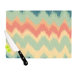 "Kess InHouse - Nika Martinez ""Ikat Chevron II"" Teal Cutting Board (11.5"" x 15.75"") - These sturdy tempered glass cutting boards will make everything you chop look like a Dutch painting. Perfect the art of cooking with your KESS InHouse unique art cutting board. Go for patterns or painted, either way this non-skid, dishwasher safe cutting board is perfect for preparing any artistic dinner or serving. Cut, chop, serve or frame, all of these unique cutting boards are gorgeous."
