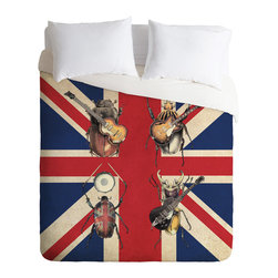DENY Designs - Eric Fan Meet The Beetles Duvet Cover - Turn your basic, boring down comforter into the super stylish focal point of your bedroom. Our Luxe Duvet is made from a heavy-weight luxurious woven polyester with a 50% cotton/50% polyester cream bottom. It also includes a hidden zipper with interior corner ties to secure your comforter. It''_s comfy, fade-resistant, and custom printed for each and every customer.