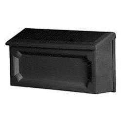 "Solar Group - Windsor Horizontal Mb Black - Wall mount mailbox is constructed of a durable polypropylene. Weather and rust resistant. Front panel has a classic decorative engraved design. Comes fully assembled. Size: 15.437""W x 5.156""D x 7.937""H.            Finish=Black"