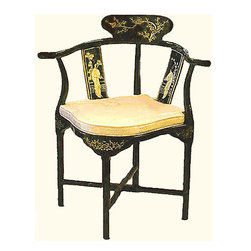 n/a - Hand Painted Black Lacquer Oriental Corner Chair Inlaid with Mother of Pearl - Asian style Corner Chair with hand inlaid mother of pearl comes with removable silk cushion. This Chinese art deco corner chair works great as a stand-alone in a corner or as a desk chair. Use four of them with a small table for dining room or den. Shiny Black lacquer with Oriental hand painting and mother of pearl inlays. Chair measures: 20 inches x 20 inches x 32 inches high. Silk cushion is removable for easy cleaning. Solid wood construction no assembly required.