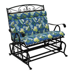 Blazing Needles - Blazing Needles Outdoor Loveseat Glider Cushion - 93458-REO-12 - Shop for Cushions and Pads from Hayneedle.com! Upgrade your patio and relax in style with the Blazing Needles Outdoor Glider Chair Cushion. This cushion breathes new life into your loveseat glider. It comes in a range of patterns and colors to brighten up your patio and is made with an outdoor fabric that's fade and water resistant. This double-seater cushion features a headrest plush Dacron insert and smart Velcro strips to keep it in place. Main image shown is *Skyworks Caribbean color option. About Blazing NeedlesBlazing Needles L.P. specializes in the manufacture of cushions pillows and futons. As a sister company of International Caravan Inc. Blazing Needles provides a wide variety of cushions to fit the frames and furniture pieces made by International Caravan. In particular Blazing Needles' production of papasan cushions occupies a unique niche within their industry and sets them apart as a prime supplier for certain retailers. Other services they provide include contract filling sewing and import sourcing. The headquarters of International Caravan and Blazing Needles is located in Fort Worth Texas.