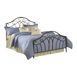 Hillsdale Furniture - Hillsdale Josephine Panel Bed - King - Pretty scrollwork and a beautiful arched silhouette combine in Hillsdale Furniture's Josephine bed. Metallic brown finish and graceful lines blend this bed easily into your traditional or cottage decor. Some assembly required.