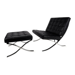 IFN Modern - Barcelona Chair and Ottoman - Our Barcelona Chair reproduction was inspired by Mies Van Der Rohe's mid-century furniture. The main source of inspiration for this piece comes from the 1929 German Pavilion where Mies and Lilly Reich showcased a gorgeous chair now known worldwide as the Barcelona Chairâ— Available in Multiple Upholstery â— Available in Multiple-Colorsâ— The cushions are made of high density foamâ— Stainless steel frame is designed for stronger support and does not chip, and rustâ— Leather square panels are cut and sewn together individually for superior detail and qualityâ— Cushions are secured in place by heavy grade leather saddle strapâ— The seat cushion is cut at an angle to compliment the angle of the frame and provide a flush lookâ— Product size is true to the originalâ— Lock stitch method was used to ensure piping stays in placeâ— Bottom of seat cushion has a mesh cover to allow maximum airflow this allows the cushion to breathe better and also conserves the shape of the   cushion for a long lifetime useâ— Cushion features seamless corners like the original which gives a more luxurious look and feelâ— Cushion foam is wrapped in Dacron Synthetic Silk underneath the leather upholsteryâ— Leather support straps for the following Vintage leathers will use a similar but not identical shade for strap color: Auburn, Copper Brown and Almond