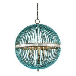 Currey and Company - Currey and Company Alberto Orb Traditional Chandelier X-3679 - This Currey and Company chandelier features a unique sphere-shaped design with bold finishes and details that draw the eye in. From the Alberto Orb Collection, it features rows upon rows of turquoise marble beads paired with a rich Cupertino finish that highlights the design and pulls the look together. Candelabra style lights complete the look.