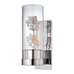 Metropolitan - Metropolitan N6638-77 Bella Fiori 1 Light Wall Sconce - Metropolitan N6638-77 Single Light Bella Fiori Wall SconceMetropolitan adds beauty to your home like no other with this unique wall sconce design. Featuring a single bulb that shines up on two hand made glass flowers enclosed in a clear glass 'vase,' this unique piece will compliment any decor.Metropolitan N6638-77 Features: