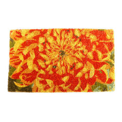 "CocoMatsNMore - CocoMatsNMore Chrysanthemum Design Coco Doormats - 18"" X 30"" - Eco-friendly Coco Mat are hand-woven and  made from 100% natural coir . These coco doormats are designed to last for a long time and are easy to maintain and clean by either shaking or hosing it down. Designed with fade-resistant dyes they are durable enough to withstand the harshness of weather and look good througout the year. Furthermore, they keep your house clean by doing a fabulous job of trapping the dirt, mud and debris right at the doorstep."