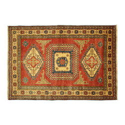 Manhattan Rugs - New Hand Knotted Grenadier Red Veg Dyed 4'x6' Super Kazak Oriental Rug H4058 - Kazak (Kazakh, Kasak, Gazakh, Qazax). The most used spelling today is Qazax but rug people use Kazak so I generally do as well.The areas known as Kazakstan, Chechenya and Shirvan respectively are situated north of Iran and Afghanistan and to the east of the Caspian sea and are all new Soviet republics. These rugs are woven by settled Armenians as well as nomadic Kurds, Georgians, Azerbaijanis and Lurs. Many of the people of Turkoman origin fled to Pakistan when the Russians invaded Afghanistan and most of the rugs are woven close to Peshawar on the Afghan-Pakistan border.There are many design influences and consequently a large variety of motifs of various medallions, diamonds, latch-hooked zig-zags and other geometric shapes. However, it is the wonderful colours used with rich reds, blues, yellows and greens which make them stand out from other rugs. The ability of the Caucasian weaver to use dramatic colours and patterns is unequalled in the rug weaving world. Very hard-wearing rugs as well as being very collectable