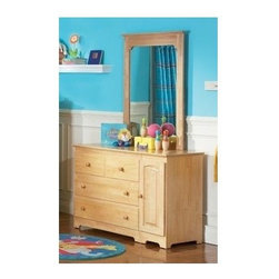 Atlantic Furniture - Windsor 3 Drawer Dresser & Mirror Set in Natu - Includes 3 drawer dresser with 2 cabinets and rectangular bevel glass portrait mirror. Metal drawer glides. English dovetail joinery on all drawers. Eco-friendly solid hardwood construction with durable high build finishes and is certified non-toxic. Dresser: 46.62 in. W x 19 in. D x 31.5 in. H. Portrait mirror: 29.88 in. L x 2 in. W x 41.88 in. H