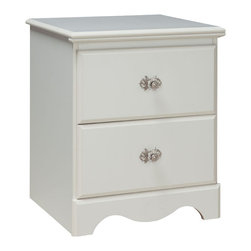 Standard Furniture - Standard Furniture Daphne 2 Drawer Nightstand in White - Daphne�۪s soft white finish, curvy feminine shapes and delicate floral ornaments makes this charming Victorian cottage group perfect for every little girl�۪s dream room.