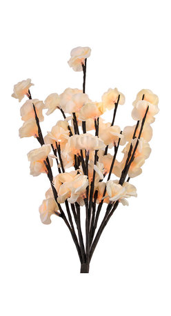 Zeckos - 40 Blossom LED Light White Mini Rose Bouquet Table Decor AC Adapter - This 19 inch tall white silk mini rose bouquet piece contains 40 individual LED lights for a dazzling light display. Each of 5 stems holds 8 lighted blossoms, and the stems are flexible, so you can arrange them in hundreds of different ways It comes with a 10 foot long power cord and adapter.