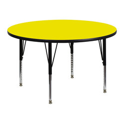 Activity Table With Thick High Pressure Yellow Laminate Top