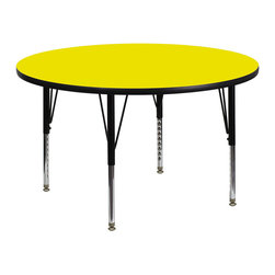 Activity Table With Thick High Pressure Yellow Laminate Top - I love a good round table for kids activities. This one is especially fun with a yellow top.