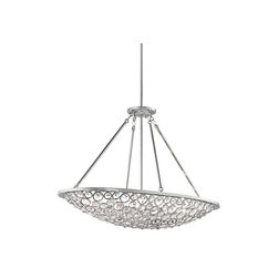 Liscomb Collection Chandelier/Oval Pendant - Bring a dramatic focal point to any area of your home with the stunning style of this 10 light chandelier/ oval pendant from the Liscomb�� collection. Cut and polished crystals held in place with contoured stainless steel rings overall forms a striking contemporary centerpiece. Illuminated by brilliant halogen points of light and touched with a Polished Chrome finish, this piece is a dazzling accent.