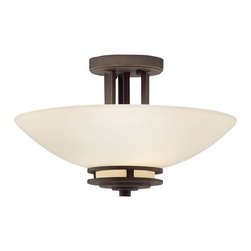 Kichler Lighting - Kichler Two-Light Semi-Flush Ceiling Light - 3674OZ - Transitional olde bronze 2-light indoor ceiling light. This semi-flush ceiling fixture features light umber etched glass and an olde bronze finish. It measures 10 inches tall by 15 inches wide. Takes (2) 60-watt incandescent A19 bulb(s). Bulb(s) sold separately. Dry location rated.