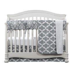 "Liz and Roo - Grey Trellis Bumperless Crib Bedding - Modern, sophisticated ""Grey Trellis"" baby bedding set by Liz and Roo. You'll love this gender neutral option for the nursery featuring a rail teething cover in lieu of a bumper. Protect your crib from teething while adding beauty to the nursery with this bumper-free alternative. Grey trellis is a quatrefoil pattern, a fabulous up-to-date look for the nursery. Complemented by the grey ""raji"" rail teething cover which comes with button hole design for safe tie practices. Just pull the ribbons through the button holes and tie a pretty bow on the crib front. Included is an egyptian cotton crib sheet with one inch elastic bands that hug the mattress tightly! Finished with a crib skirt with a 17"" drop and a luxurious minky receiving blanket in grey trellis.  All made in USA with the highest level quality and manufacturing standards!"