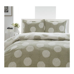 City Scene - City Scene Raindance 3-Piece Comforter Set - Revamp your bedroom with this stylish,reversible three-piece comforter set. Featuring  a circular scroll pattern in a neutral color palette of sage and white,this 100 percent cotton bedding set will enhance any decor,and is machine washable.