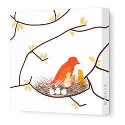"Avalisa - Imagination - Bird Nest Stretched Wall Art, 28"" x 28"", White Yellow - This endearing work of art will brighten your walls and warm your heart. Each piece is printed on fabric and applied to stretchers for a straight-from-the-gallery look. It would make a wonderful addition to a child's room or nursery."