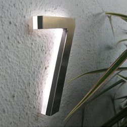 "Modern Led House Number 5"" Outdoor By Luxello LED - The Modern LED House Number 5"" inch in brushed aluminum are modern architectural LED House and building number sign system."